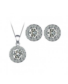 Hearts & Arrows Round-Cut Necklace and Earrings Set