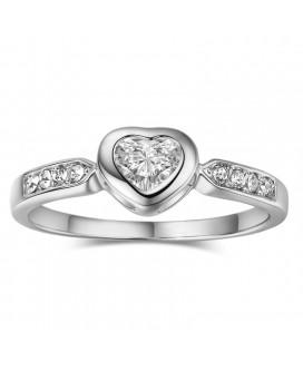 Bezel Setting Heart Ring 0.5 Carat