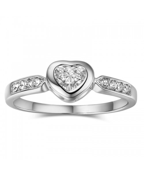 Bezel Setting Heart Ring 0.5 Carat