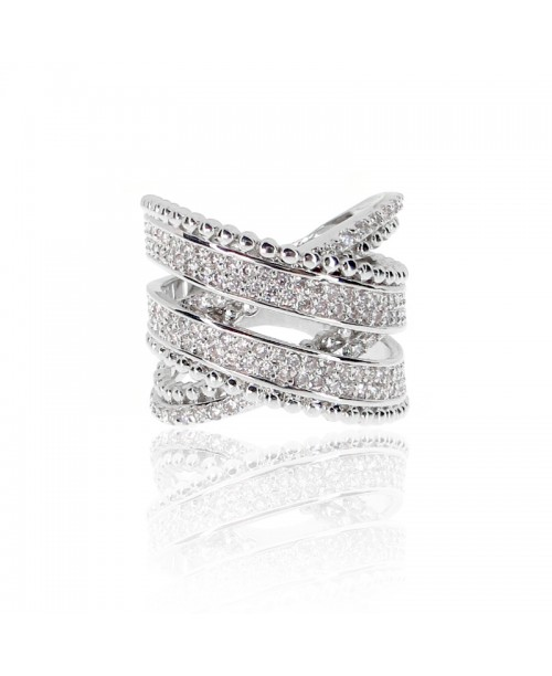 Criss Cross Paved Band Ring