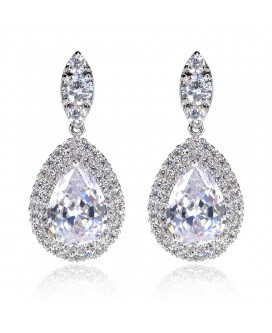 Double Halo Tear Drop Earrings