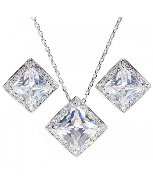 Louisa Princess Cut Necklace and Earrings Set 5ct