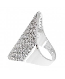 Zirconia Shield Paved Statement Ring