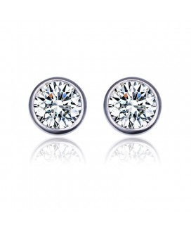 SOLITAIRE CLASSIC ROUND EARRINGS