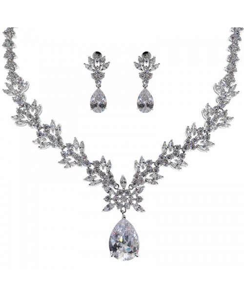 Ice Flower Crystal Necklace & Earrings Set