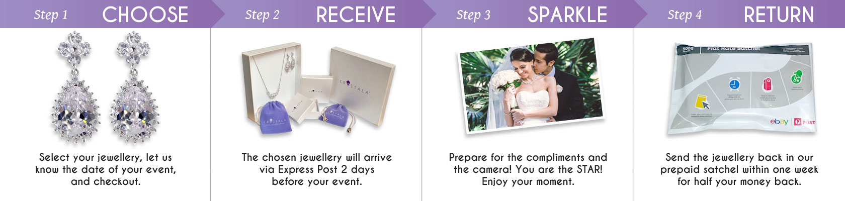 Hire Crystala Jewellery in 4 simple steps